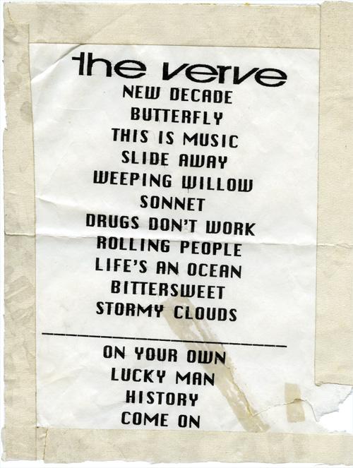 the verve setlist
