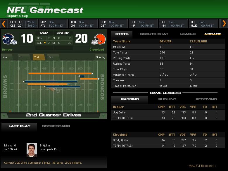 NFL: GameCast